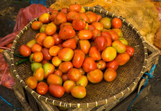Red tomatoes on a bamboo basket photo taken in Bogor Indonesia Royalty Free Stock Photography