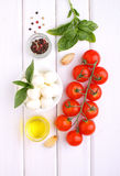 Red tomatoes, basil and mozzarella. Cheese Royalty Free Stock Photography