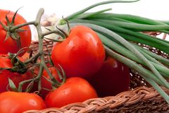 Red tomatoes in a basket Stock Photography