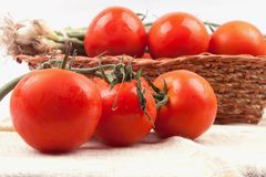 Red tomatoes in a basket Royalty Free Stock Images