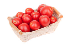 Red tomatoes in a basket. Royalty Free Stock Photos