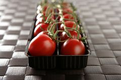 Red tomatoes branch. Un a black plastic box over brown tablecloth royalty free stock images