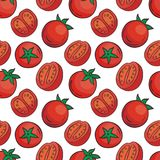 Red tomatoes cherry pattern in doodle style. Colourful seamless pattern in doodle style with the image of fresh vegetables. Vector background royalty free illustration