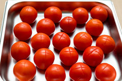 Red Tomatoes cut. Before blanch royalty free stock images