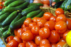 Red tomatoes on display Royalty Free Stock Photos