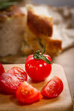Red tomatoes and focaccia Royalty Free Stock Photos