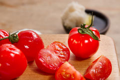 Red tomatoes and focaccia Royalty Free Stock Images