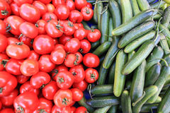 Red tomatoes and green cucumber Stock Photos