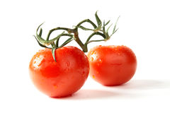 Red tomatoes with green leaves Royalty Free Stock Photography