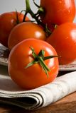 Red tomatoes on grey cloth. Red tomatoes on the rustic dish standing on the linen napkin royalty free stock image