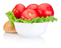 Red tomatoes with lettuce in Bowl and Sandwich bun  Stock Images
