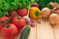 Red tomatoes, onions and garlic, peppers and cucumbers on a table Royalty Free Stock Images