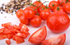 Red tomatoes with pepper Royalty Free Stock Image