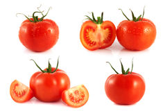 Red tomatoes set isolated on white background. Stock Images