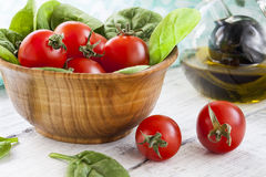 Red Tomatoes and Spinach Royalty Free Stock Photo
