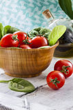 Red Tomatoes and Spinach Royalty Free Stock Images