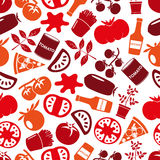 Red tomatoes theme simple icons seamless pattern eps10 Royalty Free Stock Photos