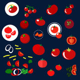Red tomatoes vegetables flat icons Royalty Free Stock Images