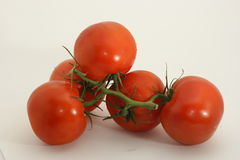 Red tomatoes on the vine. Some red tomatoes with stems in the vine against white background stock images