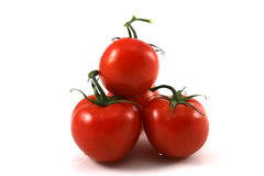 Red tomatoes on a white backgr Stock Photo