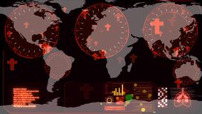 Red tomb floating and radar scanning to detected of Covid 19 virus has spread all over the world