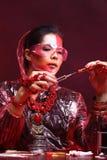 Red Tone Fashion Scientist in Dark room laboratory with tools la Stock Photo