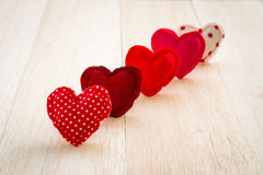 Red tone handmade cute love hearts for valentine's day Stock Images