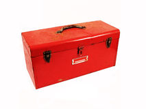 Red Tool Box. An old rusty tool box stock photography