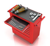 Red tool box of car parts Stock Photo