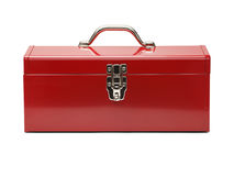 Red Tool Box. Closed Tool Box Isolated on a White Background stock photos
