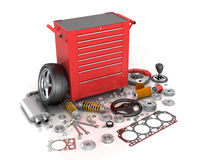 Red tool box with scattered around the vehicle parts Royalty Free Stock Images