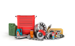 Red tool box with scattered around the vehicle parts Stock Images
