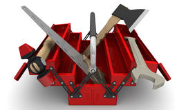 Red tool box with tools Stock Image