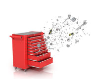 Red tool box from which emerge the tools. And parts isolated white background royalty free stock photos