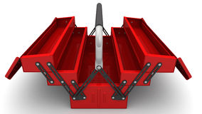 Red tool box on a white surface Royalty Free Stock Photography