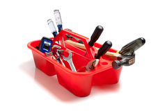 Red tool tray full of tools Royalty Free Stock Photos