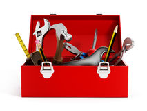 Red toolbox full of hand tools Royalty Free Stock Image