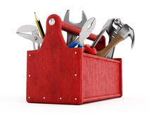 Red toolbox full of hand tools Royalty Free Stock Images
