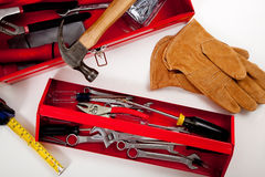 A Red Toolbox with miscellaneous tools Royalty Free Stock Photography