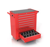 Red Toolbox on wheels with an open drawer Stock Image