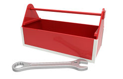 Red toolbox and a wrench Royalty Free Stock Photos