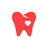 Red tooth icon with heart Stock Photo