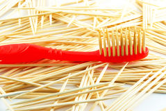 Red toothbrush royalty free stock images