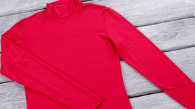 Red top with blue jeans. stock footage