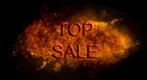 Red Top Sale written on fire flame explosion, black background Royalty Free Stock Photos