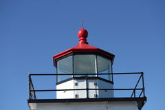 Red topped light house on a bright blue sky Royalty Free Stock Photos