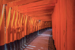 Red Tori Gate at Fushimi Inari Shrine Stock Photo