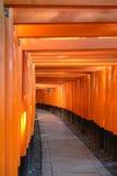 Red tori gate at Fushimi Inari Shrine in Kyoto Stock Images