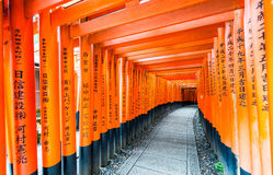 Red Tori Gate at Fushimi Inari Shrine in Kyoto, Japan.  Stock Photo