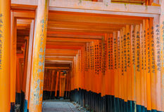 Red Tori Gate at Fushimi Inari Shrine Temple in Kyoto, Japan. Royalty Free Stock Photos